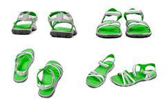 Set of green summer sandals - stock photo
