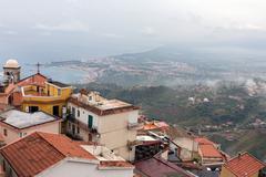 Panorama Castelmola near Taormina with aerial view Sicilian Coast Stock Photos