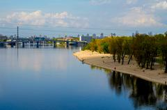 Kiev cityscape view of River Dnieper - stock photo