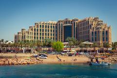 Hotel Hilton Eilat Queen of Sheba, shopping center and the beach - stock photo