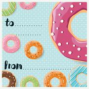 Birthday card design with colorful glossy tasty donuts - stock illustration