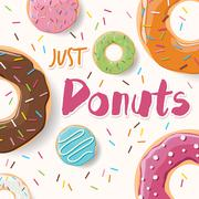 Poster design with colorful glossy tasty donuts Stock Illustration