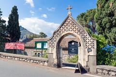 Entrance of the Anglican Church of Taormina Sicily, Italy - stock photo