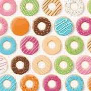 Pattern background with colorful glossy donuts - stock illustration