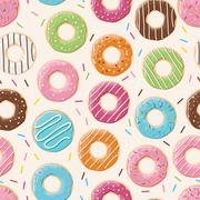 Seamless pattern with colorful tasty glossy donuts - stock illustration