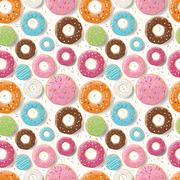 Seamless pattern with colorful tasty glossy donuts Stock Illustration