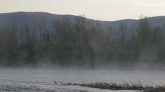 The dawn on the river with fog Stock Footage