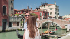 Happy Couple Gondola Love Kissing Fun City Dating Travel Famous Lifestyle - stock footage