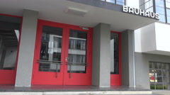 Bauhaus Building: Entrance School and glass facade, Dessau, Germany Stock Footage