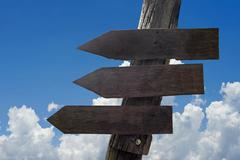 wooden direction sign with blank spaces for text - stock photo