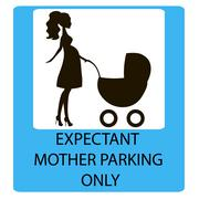 parking sign for women with children - stock illustration