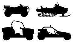 Set icons atv automobile off roads black outline silhouette illustration Stock Illustration