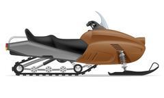 snowmobile for snow ride illustration - stock illustration