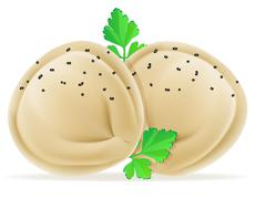 Dumplings pelmeni of dough with a filling and greens illustration Stock Illustration