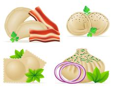 Dumplings of dough with a filling and greens set icons illustration Stock Illustration