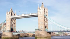 Pan footage of the famous Tower Bridge in London, Uk. Editorial use only. Stock Footage