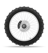 motorcycle wheel tire from the disk illustration - stock illustration