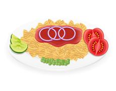 Pasta on a plate with vegetables illustration Stock Illustration