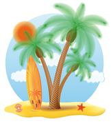 surfboard standing under a palm tree illustration - stock illustration