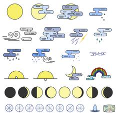 Weather Icons collectoion Stock Illustration