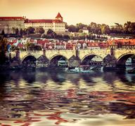 Charles Bridge and other sights in Prague - stock photo