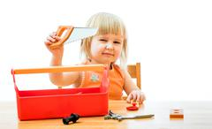 Child with toy tools Stock Photos