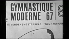 1967: Entrance signage for 3rd Women's Modern Rhythmic Gymnastics World Stock Footage