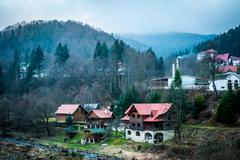 amazing landscape of picturesque village in Carpathians - stock photo