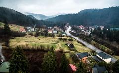 beautiful landscape with mountains in Yaremcha, Carpathian, Ukraine - stock photo