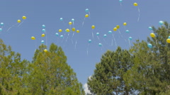 Balloons launched into the sky Stock Footage