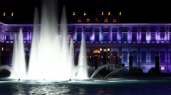 4k Time Lapse at Reggia di Monza, Italy. Fountain by Night Stock Footage