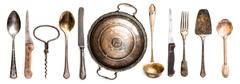 antique kitchen utensils - stock photo