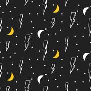 Lightning seamless pattern. Black and white hipster pop art background Stock Illustration