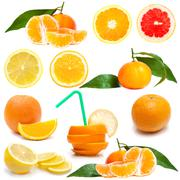 fresh citrus on white - stock photo