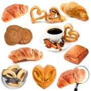 Croissants and biscuits Stock Photos