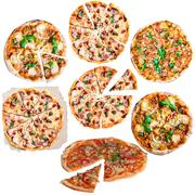 Pizza collection on white - stock photo