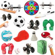 Sports Equipment on white - stock photo