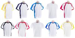 White T-shirt with colored inserts on mannequins - stock photo