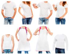 white t shirt and apron  on a young man and woman - stock photo