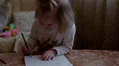 Little Girl Drawing With Pencils - stock footage