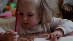 Little Girl Drawing With Pencils Stock Footage