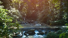Natural Waterfall in Wilderness Area of Borneo, Malaysia, with Sound - stock footage