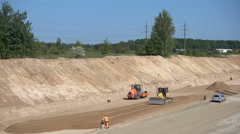 Preparatory work before asphalting on a large highway Stock Footage