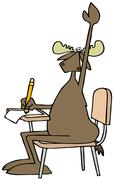 Student moose with a question Stock Illustration
