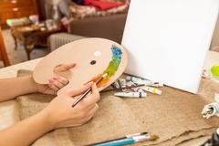 Conceptual shot of drawing hobby at home - stock photo