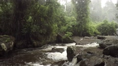 Drizzly Day on the River at Phnom Kulen in Cambodia, with Sound Stock Footage