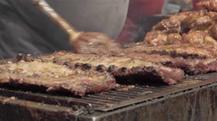 BBQ Ribs. Rib Festival. Barbecue Ribs and Chicken. 4K UHD. Stock Footage