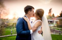 Elegant newly married couple kissing in park at sunset Stock Photos