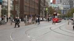 Dutch Trams in Central Amsterdam Netherlands Stock Footage