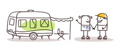 cartoon man and woman with a caravan - stock illustration